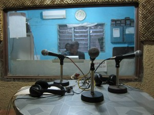 The studio at Ouesse's local community radio station.